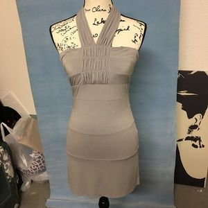 BCBG Gray Fitted Bandage Halter Mini Dress